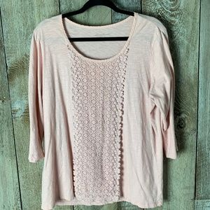 Eddie Bauer Crochet Embellished 3/4 Sleeve Blush